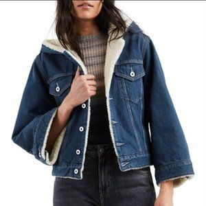 LEVI'S MADE & CRAFTED CROPPED SHERPA HOOD JKT  XS